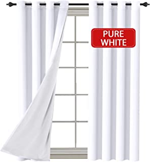 H.VERSAILTEX White (2 Layers) Curtains Elegant Extra Long Lined Faux Silk with White Liner Panels Drapes Thermal Insulated Window Treatment Grommet 2 Panels, 108 Inch Length