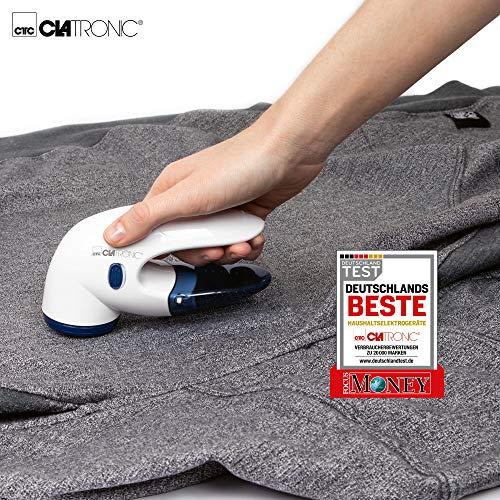 Clatronic TC 3759 Textil Cleaner, zur effektiven Entfernung von Fusseln und kleinen Knötchen, 3-Fach federnd gelagertes Edelstahlmesser, klein und handlich