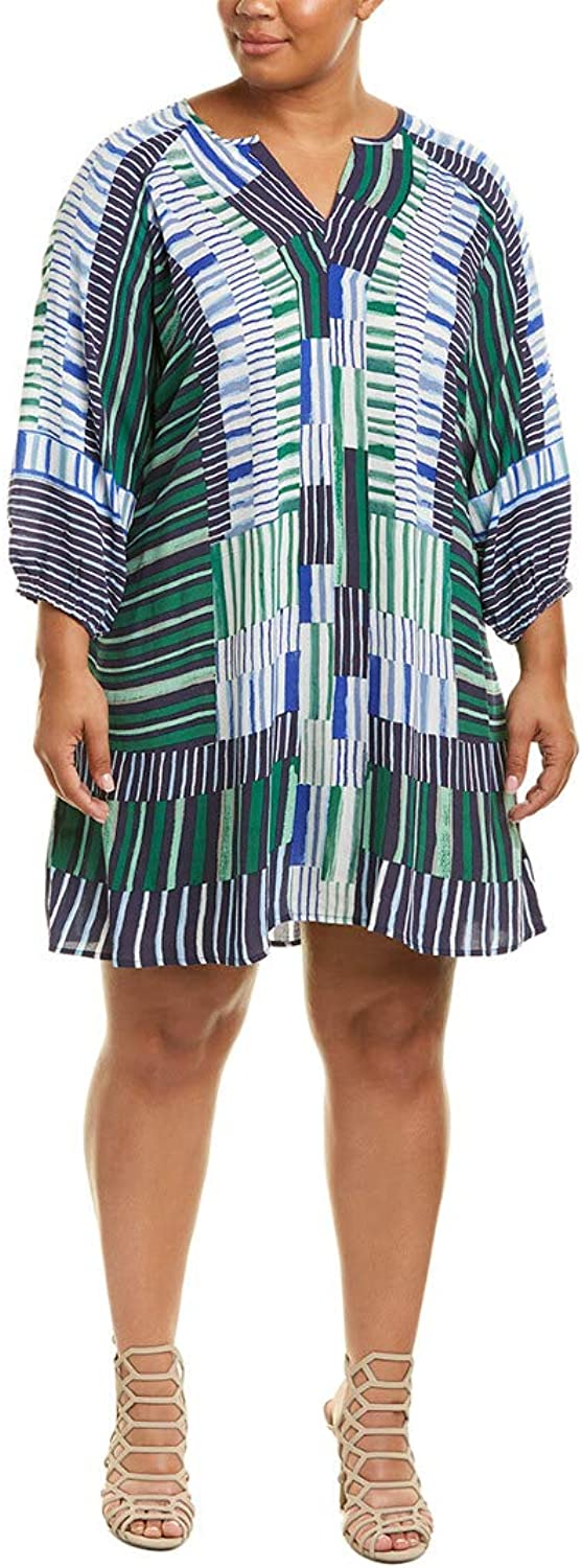 Nic + Zoe Womens Plus Thousand Miles Printed Split Neck Casual Dress