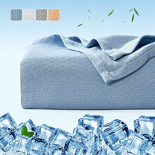 Bamboo Cooling Blankets, Luxear 200*220cm King Size Arc-chill Q-Max>0.34 Cool Fiber for Sound Sleep, Lightweight Summer Throw for Hot Sleepers, 100% Bamboo Material All Season Sofa Bed Blanket Blue