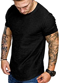 Fashion Mens T Shirt Muscle Gym Workout Athletic Shirt Cotton Tee Shirt Top