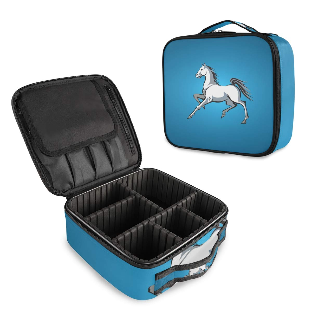 Bombing new work Travel Makeup Case White Horse Train Organizer Max 51% OFF Portable