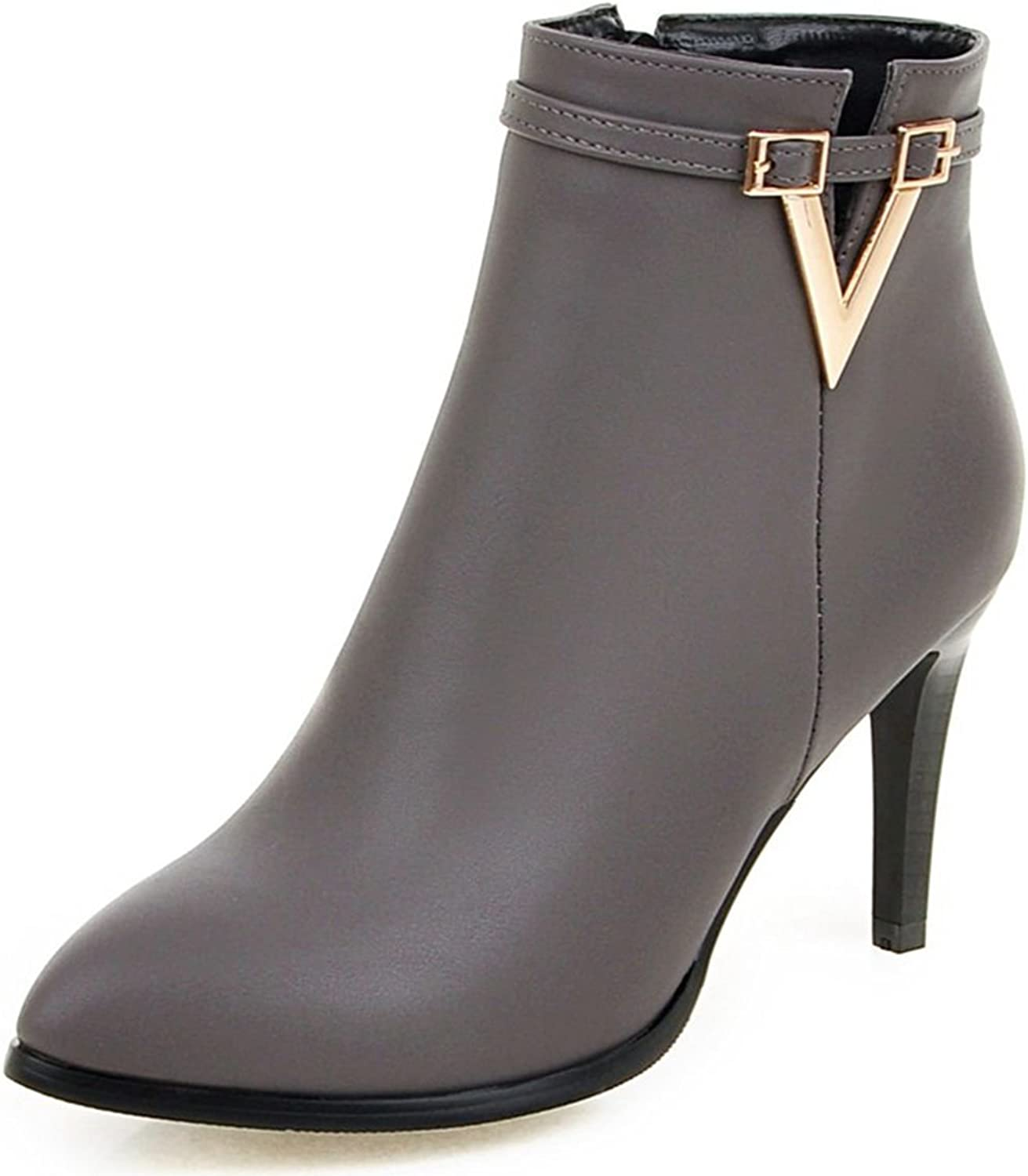 DoraTasia Women's Buckle Strap Pointed Toe Metal V Decoration High Heel Ankle Boots