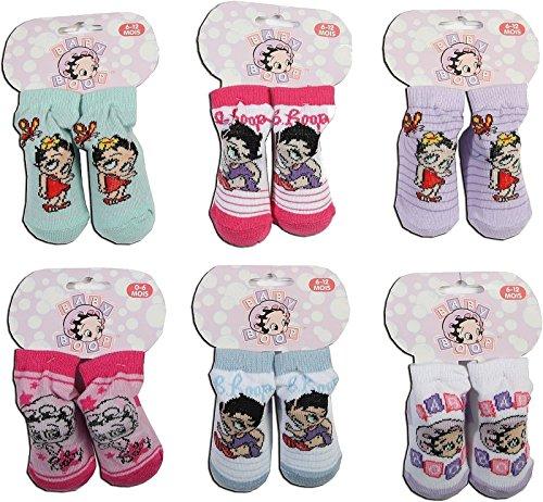 Socks PUR Lizenz - Babysöckchen Betty Boop 2er Pack (0-6 Monate, Motiv & Farbstellung vorsortiert)