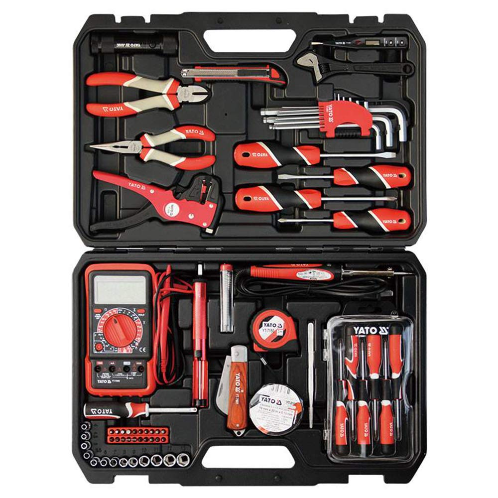 Yato YT-39004 68 Pcs Electrician Set Measuring tape Adjustable wrench Desoldering tool Multimeter Power Tool Home Tool Industrial tool Mechanical Automotive Electrical Tool set Precision screwdrivers
