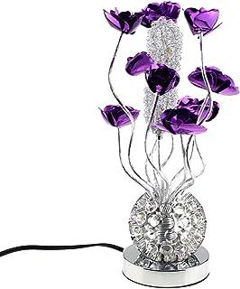 Escomdp Fleurs Pourpres en Aluminium Manuelles Salon Chambre Décor Antirust Lampe de Table Antiseptique LED Source de Lumi...