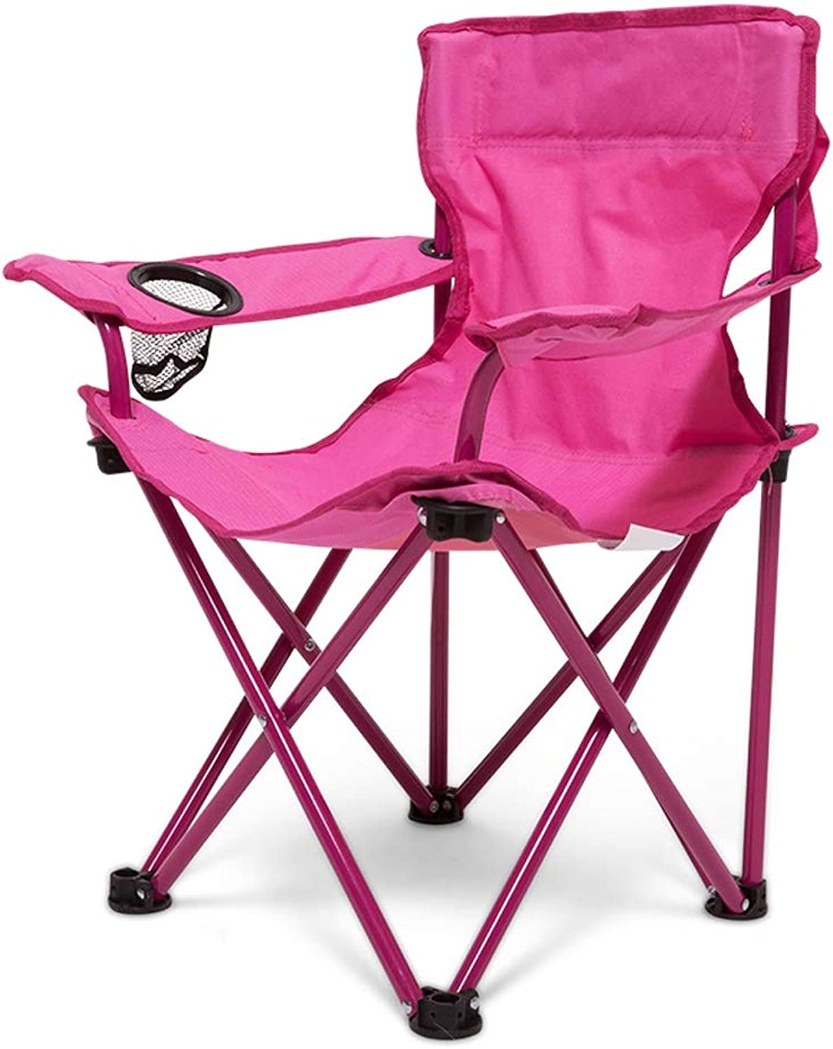 RFJJAL Garden Deluxe Folding High Back Camping Chair Fishing Picnic Beach Foldable Seat with Cup Holder (color   Pink)