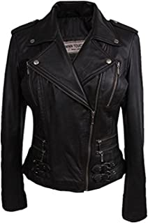 BRANDSLOCK Womens Real Leather Biker Jacket Vintage Rock