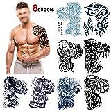 Grandes tribales Tatuajes temporales para adultos hombre(8 hojas), Konsait Fake Tatuajes Adhesivos Tatuajes de cuerpo temporales brazo cuello impermeable