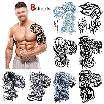 Konsait Large Temporary Tattoos Half Arm Chest Tattoo Men Tribal Totem Tattoo Make up Body Art Sticker for Halloween Party Supplies Beach Pool Party Favor Decor Dress up Costume Accessories 8Sheets