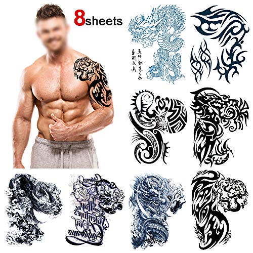 Konsait Large Temporary Tattoos Half Arm Chest Tattoo Men Tribal Totem Tattoo Make up Body Art Sticker for Halloween Party Supplies Beach Pool Party Favor Decor Dress up Costume Accessories(8Sheets)