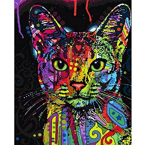 Malen nach Zahlen Kit,Diy Ölgemälde Zeichnung bunte Katze Leinwand mit Pinsel Dekor Dekorationen Geschenke - 16 x 20 Zoll rahmenlose
