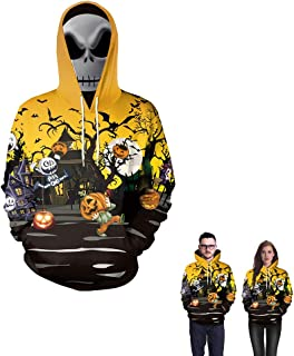GALEI Unisex 3D Print Pumpkin Halloween Hoodie Casual Pullover Long Sleeve Sweatshirt Tops with Pockets