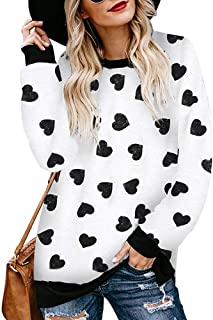 Imysty Womens Leopard Print Crew Neck Sweatshirts Casual Loose Long Sleeve Pullover Blouse Tops
