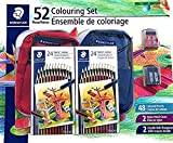 Staedtler 52 Colouring Set, 48 Germany Pencils - 02 Pack x 24 Coloured Pencils , 2 Nylon Pencil Cases, 2 Double-Hole Sharpeners