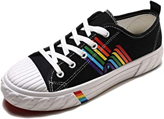 Lady Canvas Shies Rainbow Sweet Style Lace-Up lichtgewicht sneakers Flat Summer Autumn Mixed Colors Walking Casual Shoes