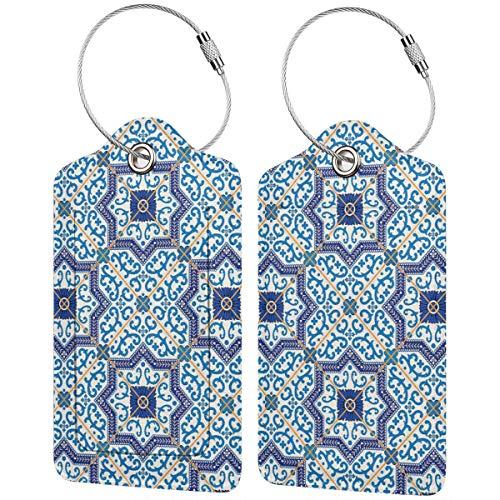 WINCAN Gepäckanhänger Kofferanhänger mit Adressschild,Marokkanische portugiesische Art Klassische Fliesen Ornamente asiatische historische Gebäude Kunst (2 Stück)