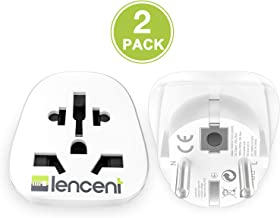 LENCENT 2x Adaptador Enchufe UK/Ingles/Reino Unido/US/