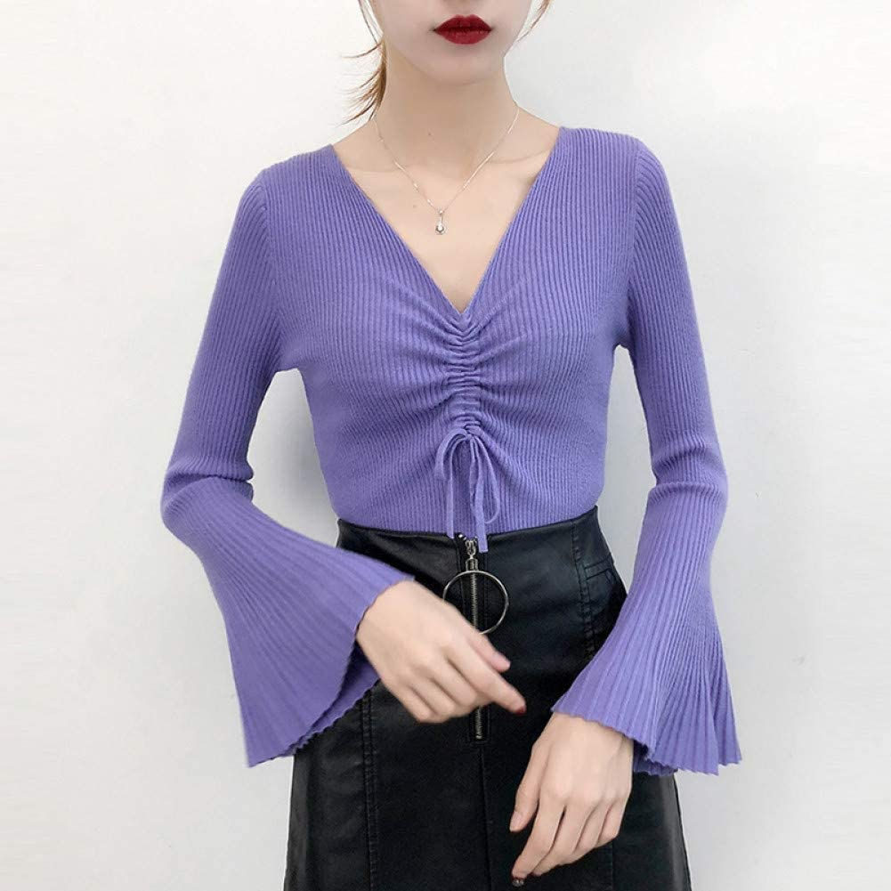 HIZLJJ Outstanding Women's Fashion Big V-Neck Swe Sexy List price Loose Sleeve Pullover