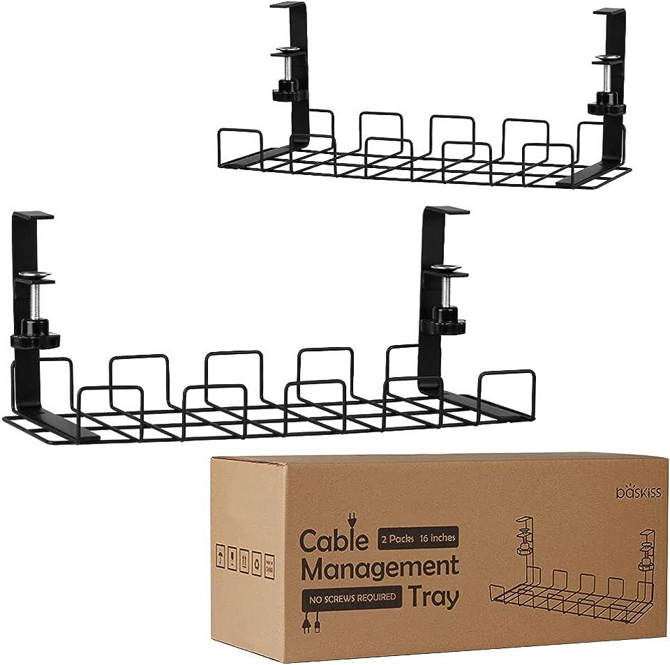 Baskiss Kabelkanal Schreibtisch, 40 cm, Stabiler Tisch Kabelhalter für Kabelordnung, Metallene Kabelwanne Unter Schreibtisch für Schreibtische, Büros und Küchen, 2 Stück (Schwarz)