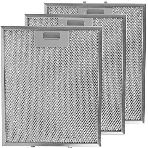 Spares2go - Filtros de grasa universales para campana extractora de cocina, rejilla de metal, 3 unidades, 300 x 250 mm, color plateado