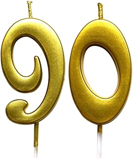 MAGJUCHE Gold 90th Birthday Numeral Candle, Number 90 Cake Topper Candles Party Decoration for Women or Men