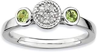 Solid 925 Sterling Silver Stackable Expressions Dbl Round Simulated Peridot and Diamond Ring (2.3mm)