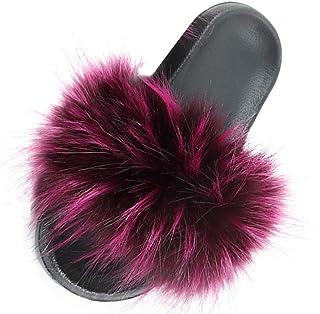 BIBOKAOKE Fluffy Slippers voor dames, winter, warme pantoffels, pluche, voor binnen en buiten, lichte slippers, comfortabe...