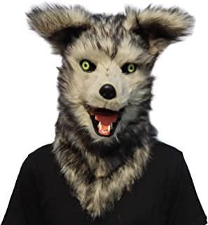 ifkoo Realistic Mouth Mover Wolf Mask for Halloween Party Costume Plush Moving Mouth Fursuit Head Werewolf Mask Adult