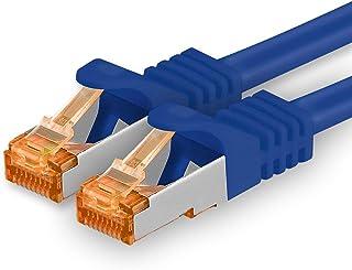 1,5 m - Cat.7 nätverkskabel blå - 1 bit Gigabit Ethernet LAN-kabel 10000 Mbit s patchkabel Cat7-kabel S FTP PIMF-skärmning...