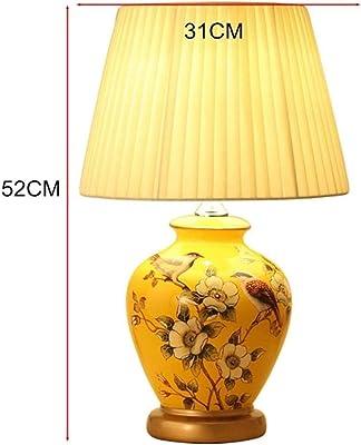 KYBYMX,Nordic Schreibtischlampe Amerikanischer Landhausstil K/ürbis Keramik Tuch Tischlampe Tischlampe Schlafzimmer Wohnzimmer LED E27 Innentischlampe Farbe : Gelb