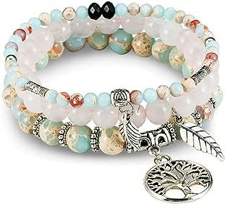 Gemstone Bead Bracelets Tree of Life Charms Yoga Healing Stone Bracelet Set for Women