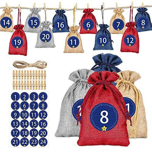 LONGCHAO Calendrier de l'Avent, Sac Cadeau Noël DIY, Sachet Calendrier Noel Remplir, 24 Pochon Calendrier de l'avent avec Clip en Bois 1-24 Autocollants, Cadeaux Sacs en Tissu Jute Noël Déco (A)