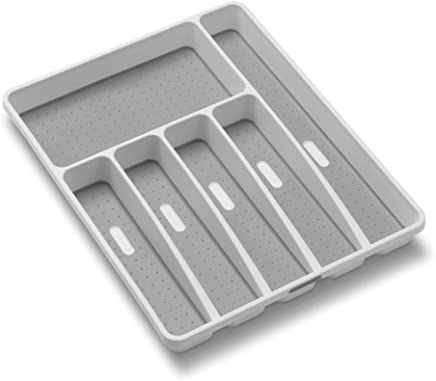 madesmart Classic Large Silverware Tray - White | CLASSIC COLLECTION | 6-Compartments |  Soft-grip Lining and Non-slip Feet |BPA-Free