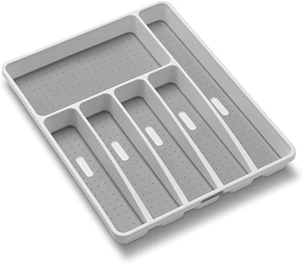 Madesmart Classic Large Silverware Tray White CLASSIC COLLECTION 6 Compartments Soft Grip Lining And Non Slip Feet BPA Free