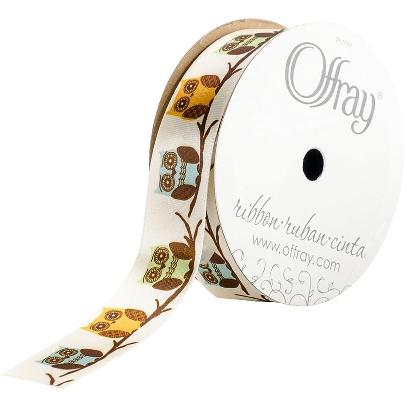 Offray Owls Craft Ribbon, 7/8-Inch x 9-Feet, Cream