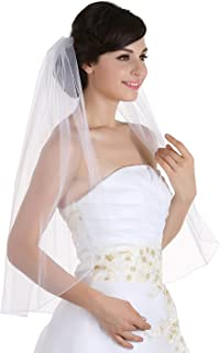 1T 1 Tier Pencil Edge Bridal Wedding Veil - Ivory Elbow Length 30
