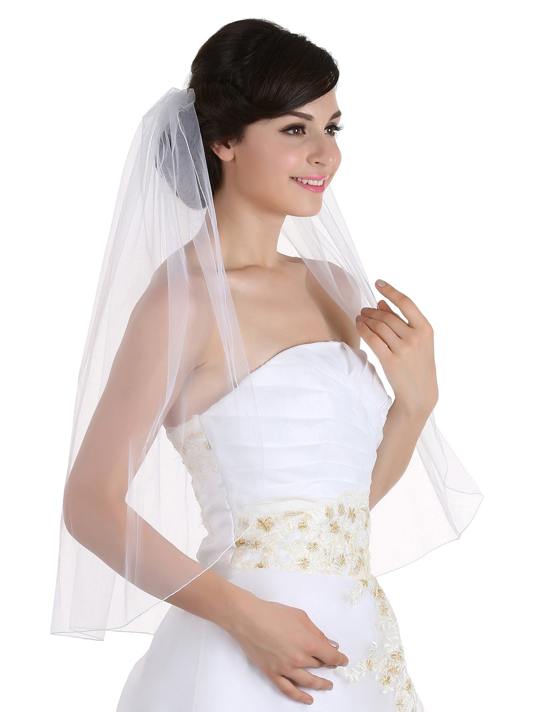 2 Layer Ribbon Edge Cathedral Edge Elbow Bride Party Prom Wedding Veil With Comb