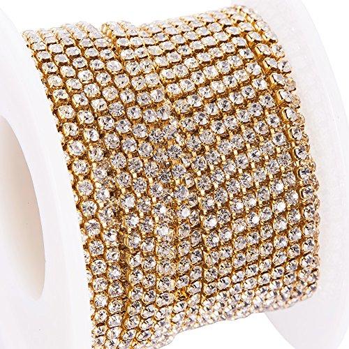 BENECREAT 10 Yards(ca. 9.14M) Kristall Strass Schlie?en Kette Klar Trimmen Klaue Kette Nahen Handwerk uber 2880 Stuck Strasssteine, 2 mm - Silber (Gold-Unterseite)