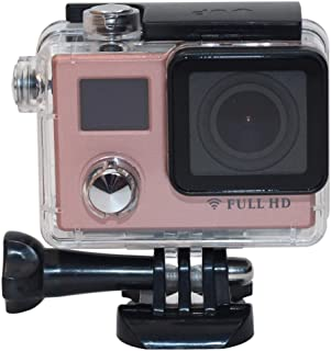 Action Camera F88BR 4K Portable WiFi Waterproof StarVision Sport Camera with Remote Control, 0.66 inch LED & 2.0 inch LCD (Color : Pink)