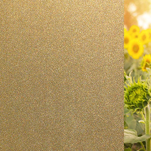 LEMON CLOUD Fensterfolie Golden Glitter Sichtschutzfolie Milchglas Elektrostatisch Selbstklebend Obskure Privatsphäre Schutz Fensteraufkleber Anti-UV für Home Living Room Schlafzimmer (44.5x200cm)