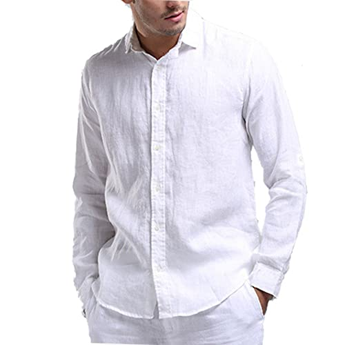 48550327d1709 Najia Symbol Mens Casual 100% Linen Rolled up Long Sleeve Buttons Shirts