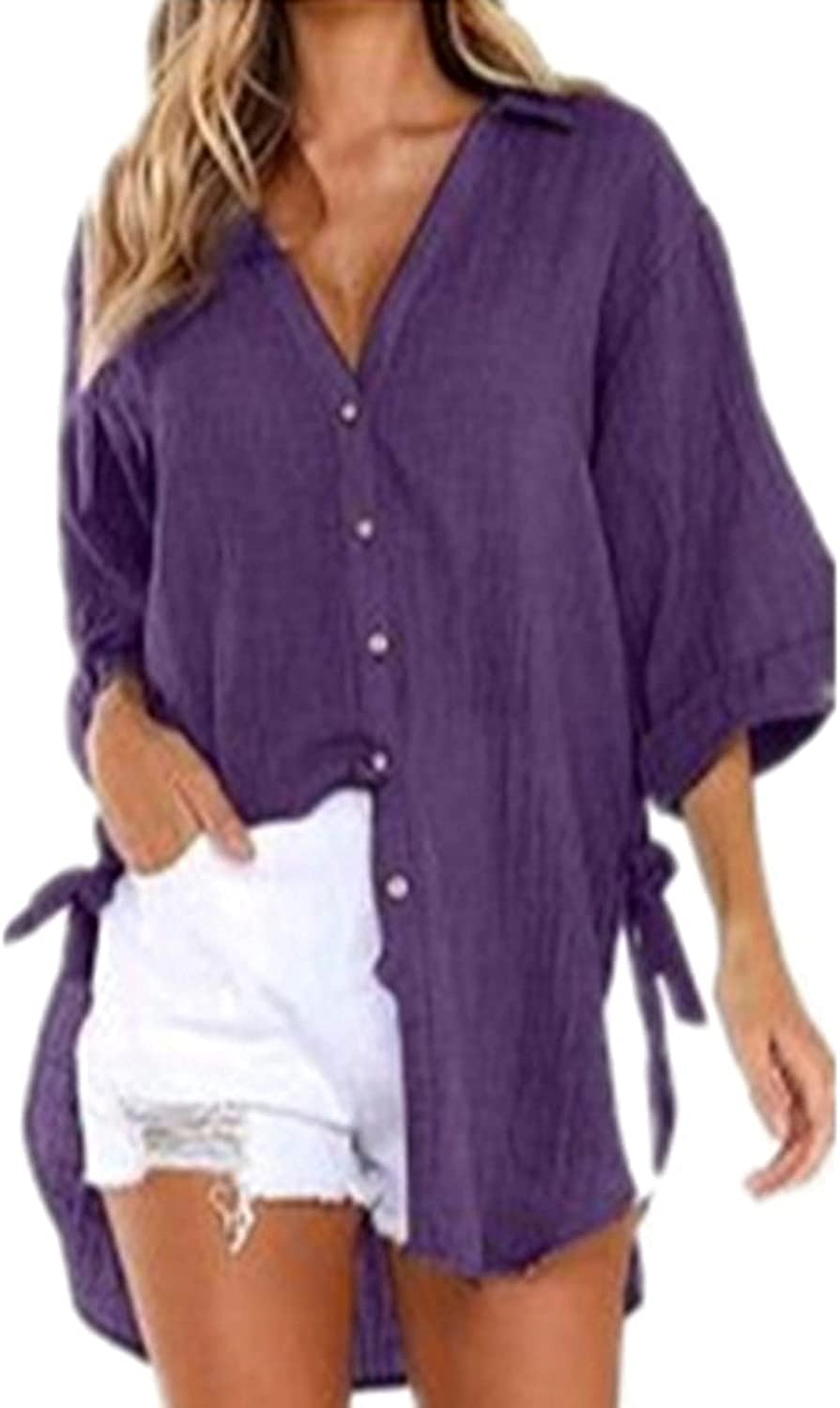 Womans Blouses/Short Sleeved Casual Sunscreen Shirt Button-Down Solid Lapel Tees V-Neck Breathable Long Top
