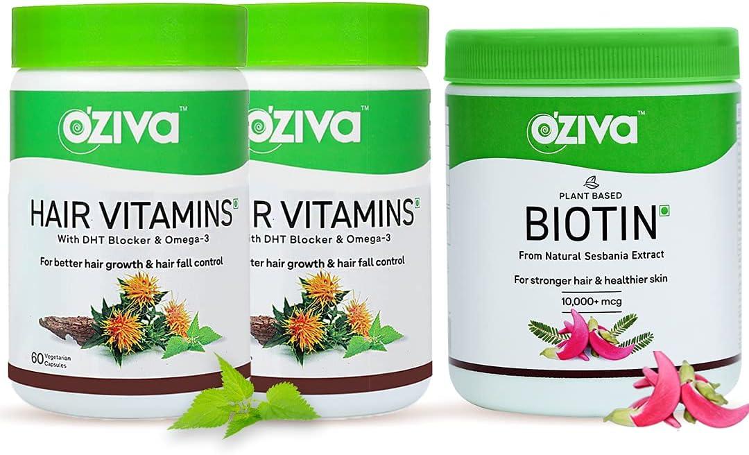 24 Karat OZiva Plant Super-cheap Oakland Mall Based Biotin mcg Hair Vitamins 10000+ wi