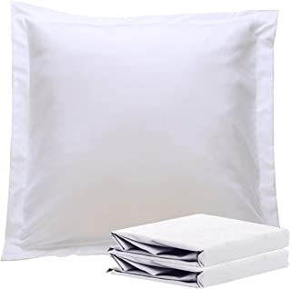 NTBAY 100% Brushed Microfiber European Square Throw Pillow Cushion Cover Set of 2, Soft and Cozy, Wrinkle, Fade, Stain Resistant (26x 26 inches, White)