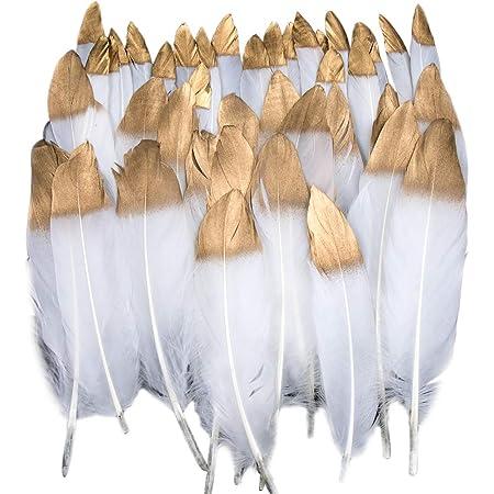 Plumes Colorées, 40pcs Or blanc trempé Plume Décoration, Idéal Pour Costumes, Chapeaux, Décoration d'intérieur Fete Mariage Anniversaire, Multicolore