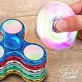 LED Finger Spinner Fidget Hand Spinner Chrome Edition Hand Spiner Tri-Bar Kreisel Anti Stress (Blau Chrome mit LED)