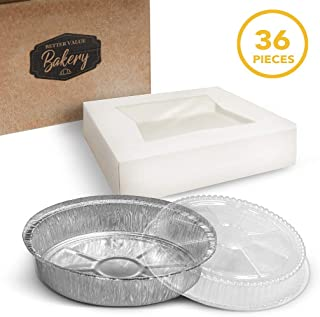 "Pie Boxes with Aluminum Foil Pans and Lid 9"" x 9"" x 2.5"" Bakery Box with Window Lid and Disposable Pie Tins with Lids Bake and Package 12 Pies for Home Holiday or Restaurant Use (36 Piece Set)"