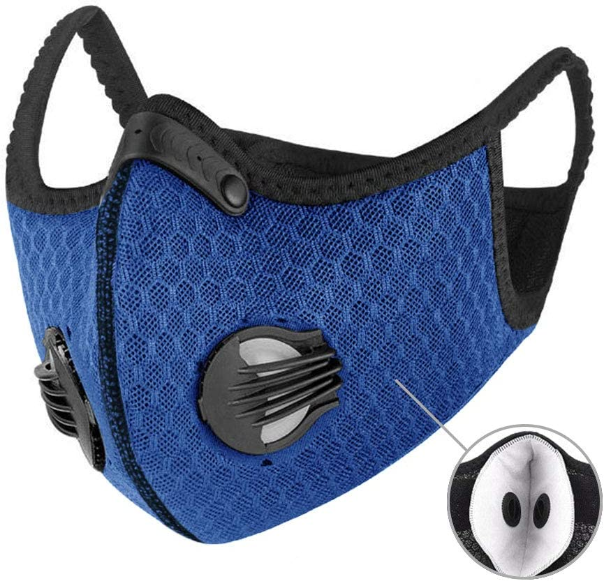 XAKALAKA Face Scarf Balaclava Neck Gaiter Mask with Safety Carbon Filters Headwear Outdoors Sports Motorcycling Navy 1Pcs