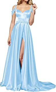 Women's Straps Cold Shoulder Beaded Prom Evening Party Dress with Split